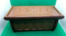 Vintage Carved Wooden Jewellery Trinket Box Miniature Blanket Chest Casket