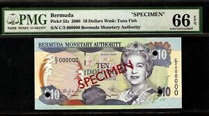 Bermuda SPECIMEN 10 Dollars 2000 PMG 66 EPQ UNC Pick# 52s PMG Census 1/0