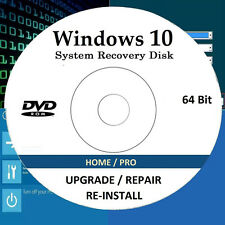 Windows 10 64 bit on Bootable Upgrade/Repair/Re-Install DVD