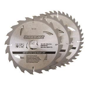 3 x Circular Saw Blades 184mm Diameter 30mm Bore Hole 20mm 16mm Rings Mitre Chop