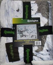 REMINGTON PHOTO REAL DEER BUCK THROW BLANKET REVERSIBLE SHERPA HUNTER SNOW NEW!