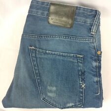 Scotch & Soda Phaidon Mens Jeans Size 30 L32 Blue Slim Button Fly Distressed