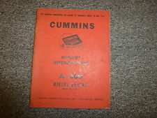 Cummins Model A600 Diesel Engine Owner Operator Maintenance Manual Book