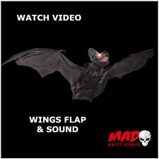 Giant Animated Flying Bat -Halloween Hanging Decoration Prop MOVES+SOUND Scary!