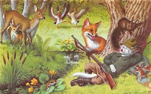 G91/ Dressed Cats Alfred Mainzer Postcard c40s Hunting Fox Deer Rifle20