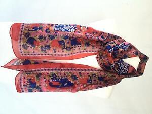 Large Silk Floral Head Square Scarf Indian Elephant Neck Wraps Vintage Shawl