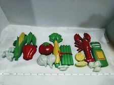 Homco 7353, 7354 & 7355 Vegetables & Lobster Plastic Wall Plaques. Kitsch Retro
