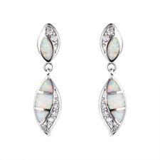 Beautiful Silver Filled White imitation Opal Ear Stud Earrings Wedding Jewelry