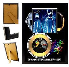 DAFT PUNK  - A4 SIGNED FRAMED GOLD VINYL COLLECTORS CD DISPLAY PICTURE
