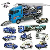 jenilily Police Car Rescue Truck Mini Vehicles Toy Set in Carrier Truck for Kids