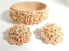 Vintage Featherweights Carved Celluloid Rhinestone Pink Rose Bracelet & Earrings