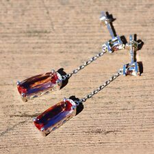 Color Change Diaspore Long Drop Earrings Sterling Silver 925 with Cubic Zirconia