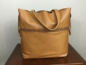 Frye Carson Full Grain Italian Whipstitch Extra Large Leather Tote Caramel Brown