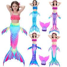 Kids Girl Mermaid Tail Bikini - Monofin Swimmable Tail Swimming Swimwear Costume