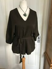 RIVER ISLAND BROWN SHORT SLEEVE TUNIC TOP WITH BELT SIZE 12 EX CONDITION
