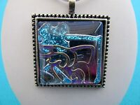 Abstract Style Dichoric Pendant With Blue Stripe Dog And Gold Butterfly (nk1126)