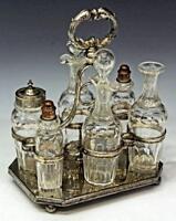 Cruet Set,  Victorian Glass & Silverplate 19th Century ( 1800s ),  Charming!
