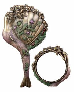 Beautiful Lady Aurora Sleeping Mermaid Hand Mirror Figurine Art Nouveau Decor
