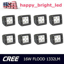8X 3inch 16W Cree LED Work Light Cube Pods Flood Lamp Offroad SUV ATV Jeep Ford