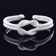 Women Mens Silver Plated Solid Twist Cuff Bangle Bracelets Fashion Jewelry Nice