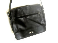 GUESS by Marciano Black  Leather Cross Body Messenger Bag Sac Zippered Flap EUC