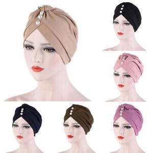 Pearls India Hijab Turban Women's Muslim Hat Chemo Cap Headwrap Solid Bandanas