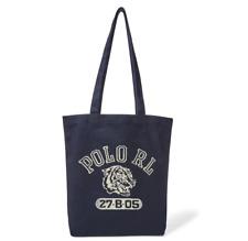 Polo Ralph Lauren Navy Tiger Logo RL Canvas Letterman CP93 Tote Shoulder Bag NWT