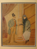 ANTIQUE 1893 FRENCH FOLK ART PRIMITIVE WATERCOLOR PAINTING SIGNED TRANSLATE? WOW