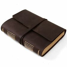 Ancicraft Plain Leather Journal Diary with Strap A5 Blank Paper Classic Brown