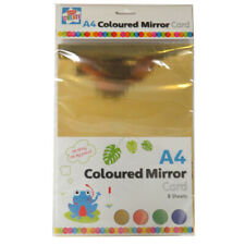 Kids Create A4 Coloured Mirror Card, 8 sheets - Gold, Red, Green, Blue