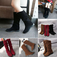 Women Low Heel Mid Calf Rouched Flat Pull On Knee Long Ladies Slouch Boots Size
