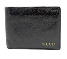 Aspinal of London Mens Leather Bifold Wallet Black with Red Lining