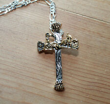 NewNailhead Cross Necklace Pendant Silver Gold Engrave Fashion Team Roping Rodeo