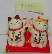 Pair of Japanese Porcelain Maneki Neko Lucky Cat For Happiness Made In Japan7617