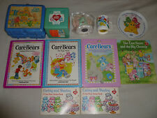 VINTAGE 1980S CARE BEAR LOT LUNCH BOX THERMOS STICKER BOOKS PLATE CUP COIN BANK