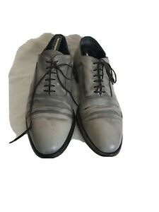 Alexander Mqueen Men Grey Leather Brogue Lace Up Shoes Uk 45 Ref Ba17