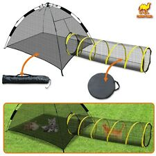 Compound Cat Play Tent House Outdoor Kitty Tube Enclosure Yard Mesh Fun Pen Cage