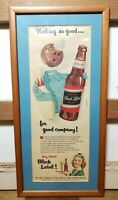 Great Vintage 1950s Carling Brewing Company Beer Advertisement- Bowling Framed