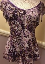 Size 14 Fully Lined Blouse Style Top - Purple Cream Multi