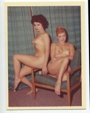 Classic Females Two Beautiful Women  1950 Original Nude Color Photo  B7269