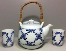 Japanese Tea Set Porcelain Blue & White Bamboo Handle Pot With 2 Cups