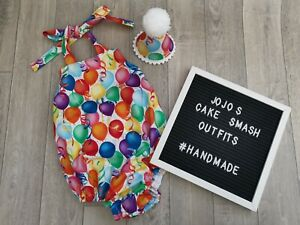 Baby Girls Cake Smash Outfit. Romper, Hat, balloons, Birthday, Photography
