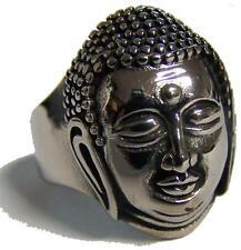 BUDDHA HEAD STAINLESS STEEL RING size 8 - S-540 biker  MENS womens religious