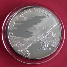 F-100 SUPER SABRE 1995 $50 1oz .999 FINE SILVER PROOF  - marshall islands