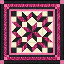 Quilt Kit Carpenter Wheel/ Pink/Black Camo/Pre-cut Fabric/EXPEDITED/Lap!!