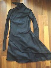 NWOT RARE Authentic Rick Owens Long Black Blister Leather Draped Coat IT 38-US 4