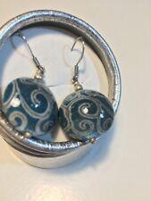 Turquoise & Gold gilded Kazakh CERAMIC DANGLE DROPPER EARRINGS