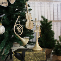 Set of gold musical instrument Christmas tree decorations vintage xmas display