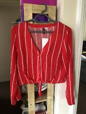 BNWT H&M Red and white Stripe Crop long sleeve top with tie front Size 8