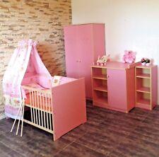 Babyzimmer Komplett Set Schrank Wickelkommode Babybett 5 Farben Regal ROSA  Weiß